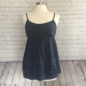 Vince Navy Blue Silk Camisole With Pockets L